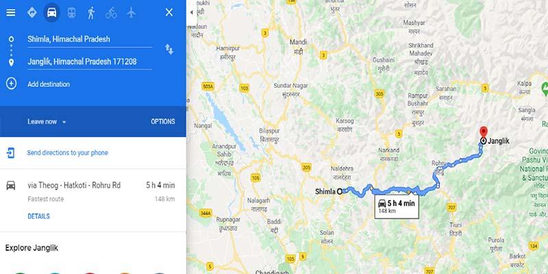 Shimla to Janglik