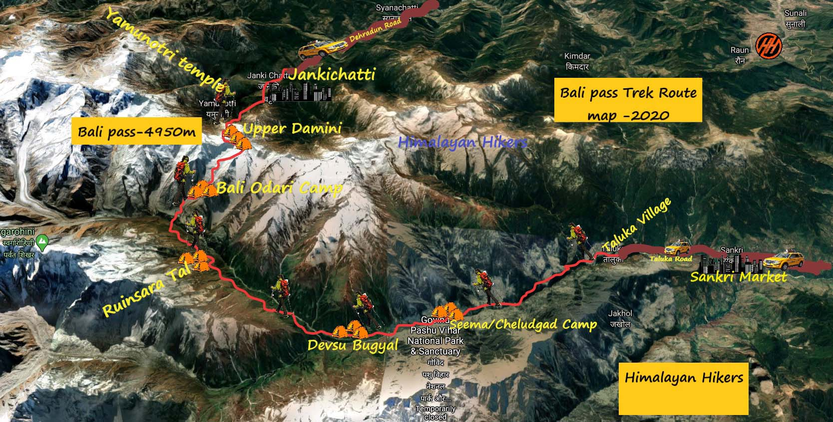 Bali Pass Trek Route Map