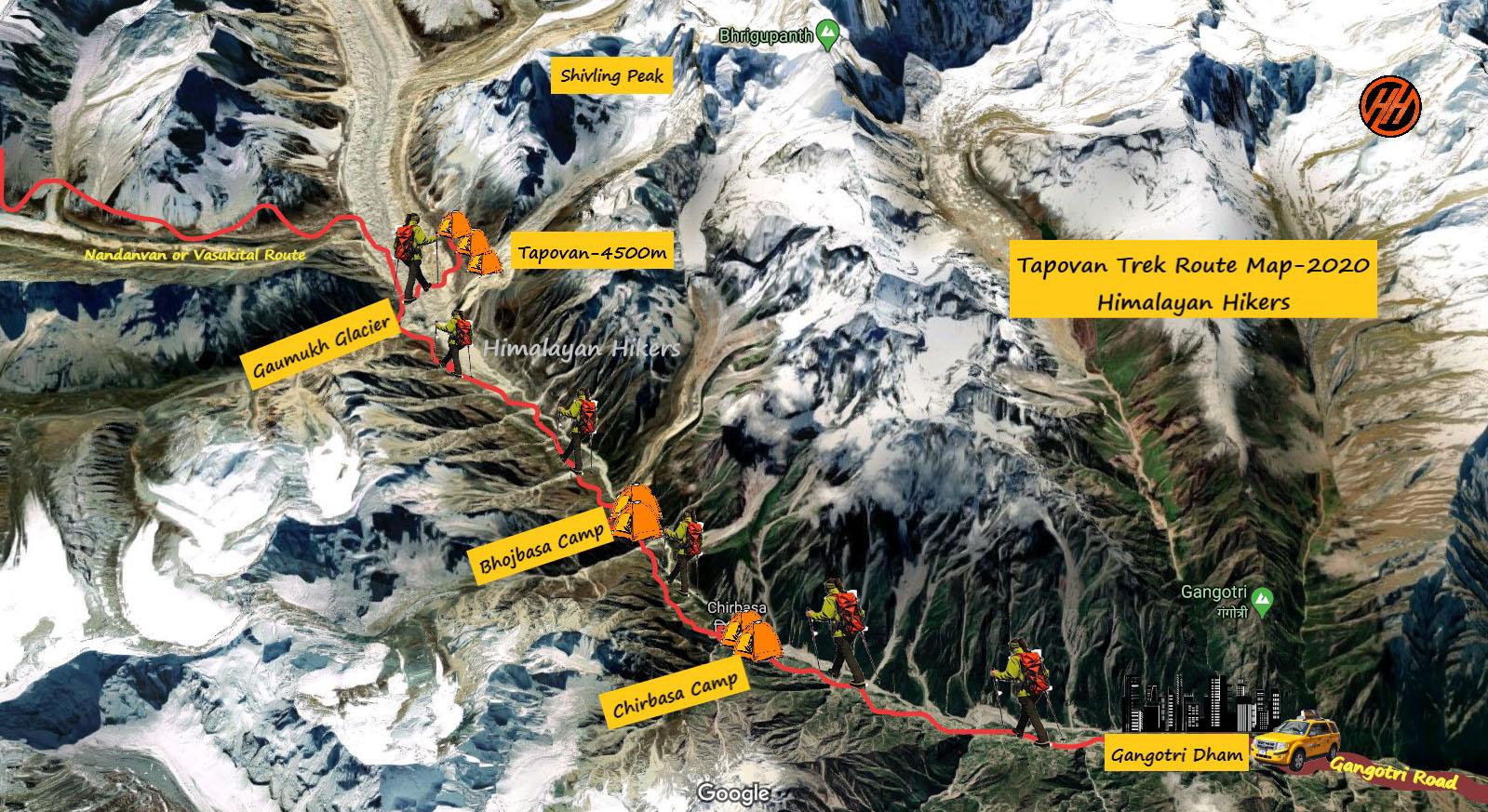 Tapovan Trek Route Map