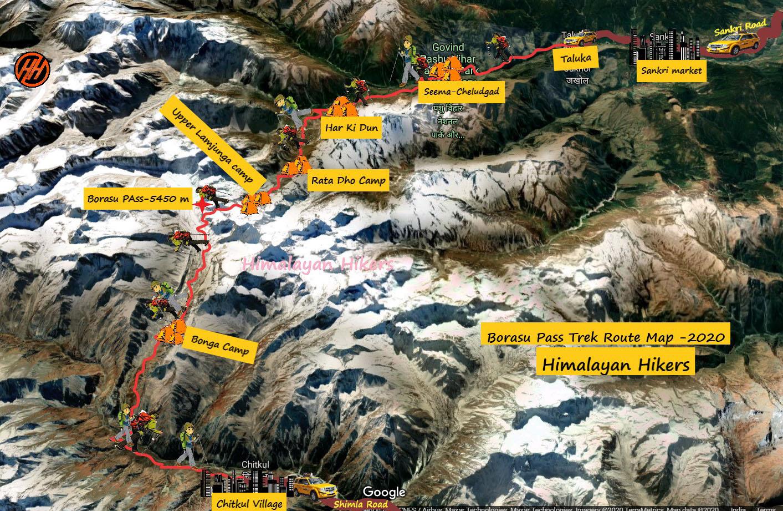 Borasu Pass Trek Route Map