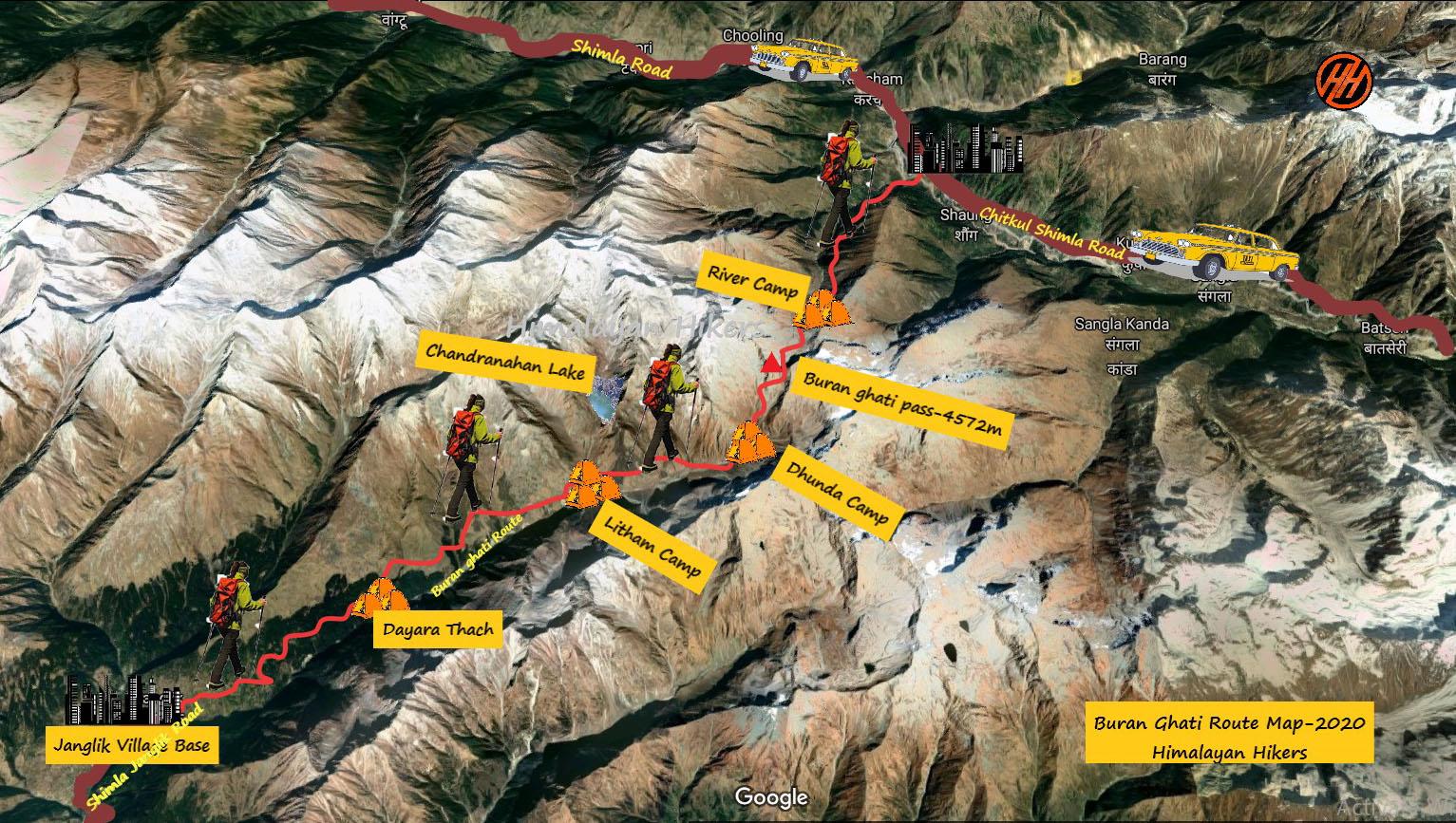 Buran Ghati Trek Route Map