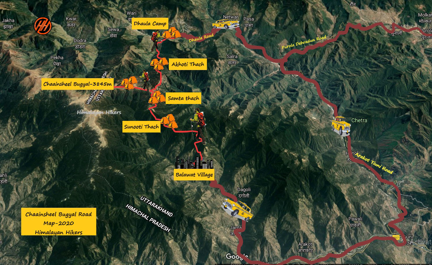 Chaainsheel Bugyal Trek Route map