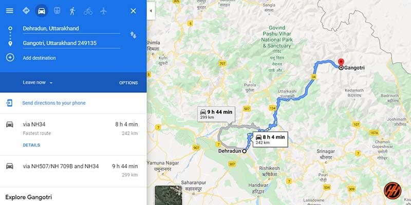 Dehradun to Gangotri Route Map