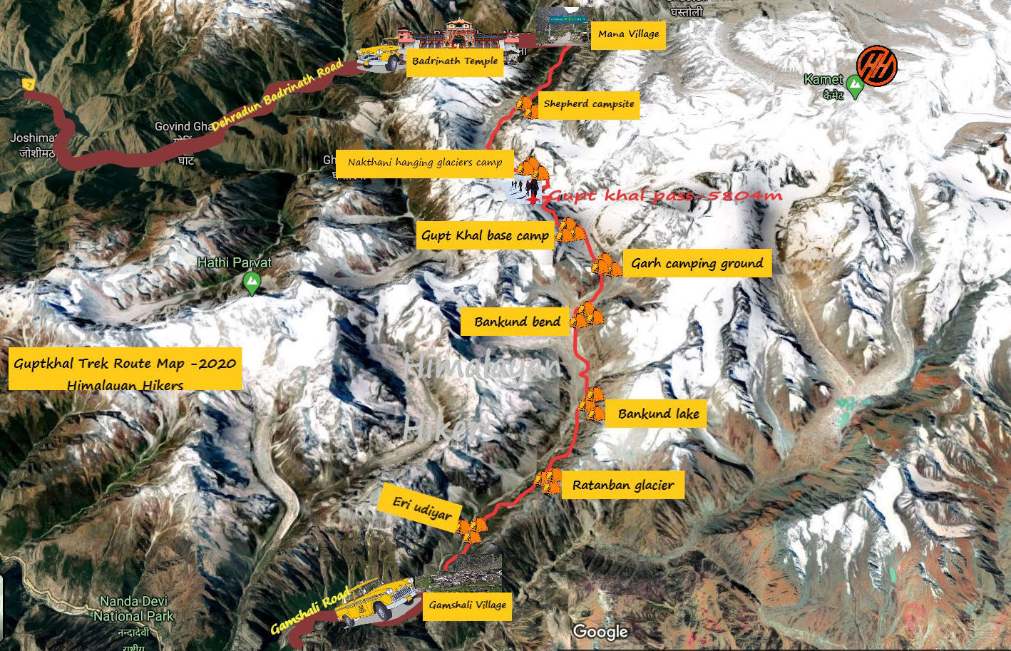 Gupt khal Trek Route Map