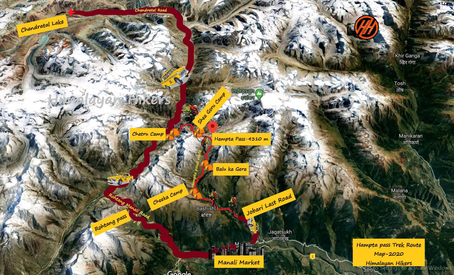 Manali to Hampta Pass Route Map