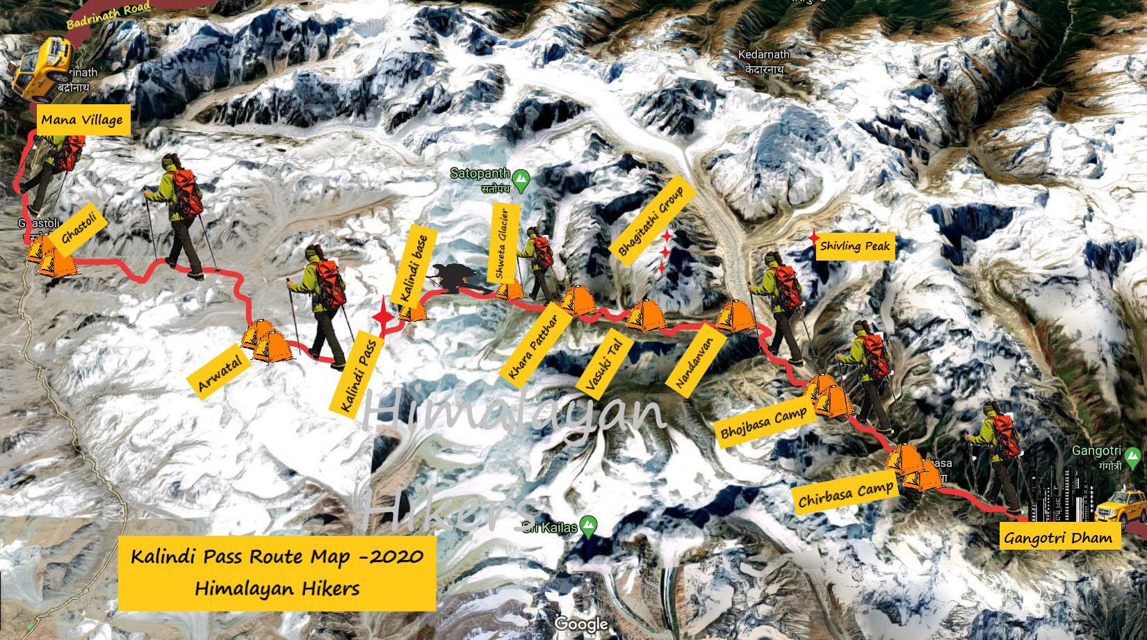 Kalindi Pass Route Map