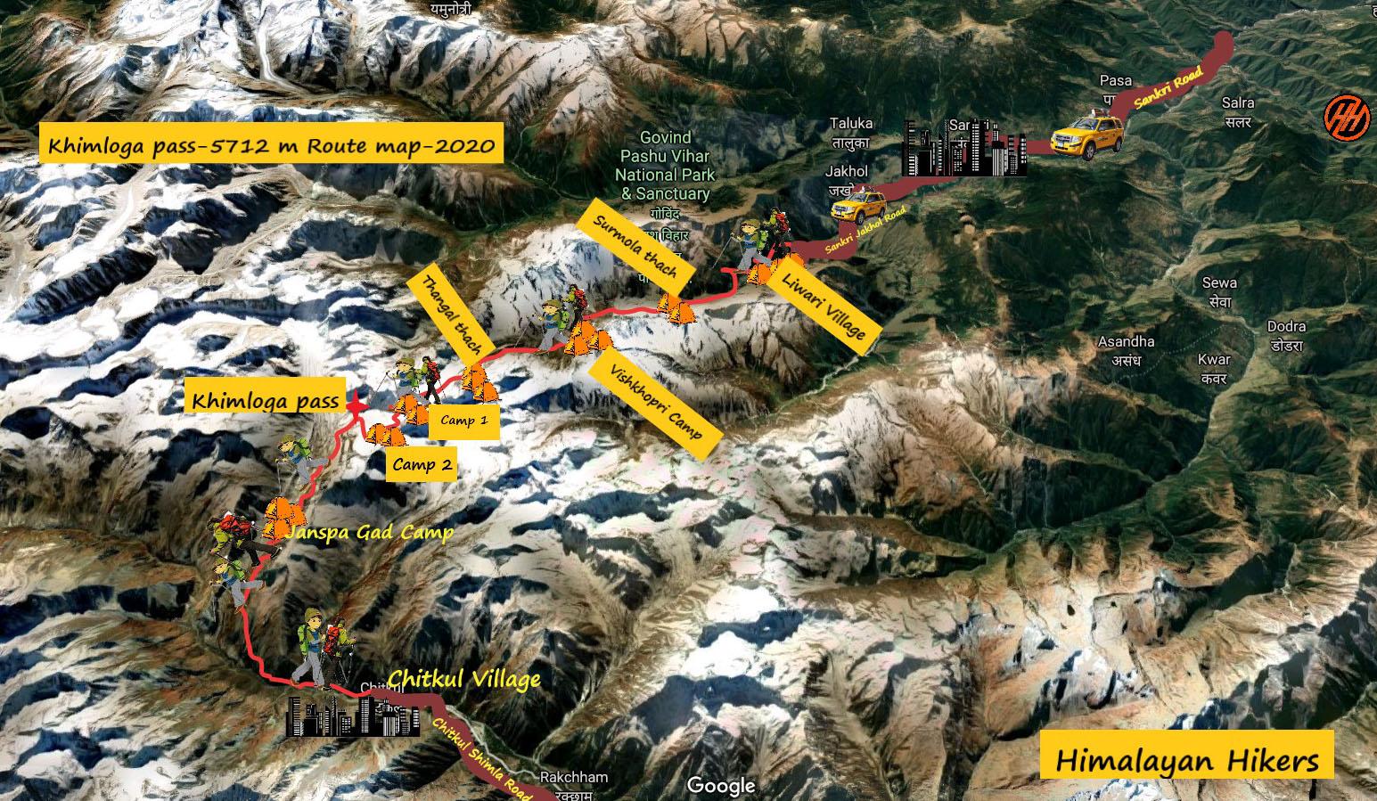 Khimloga Pass Route Map