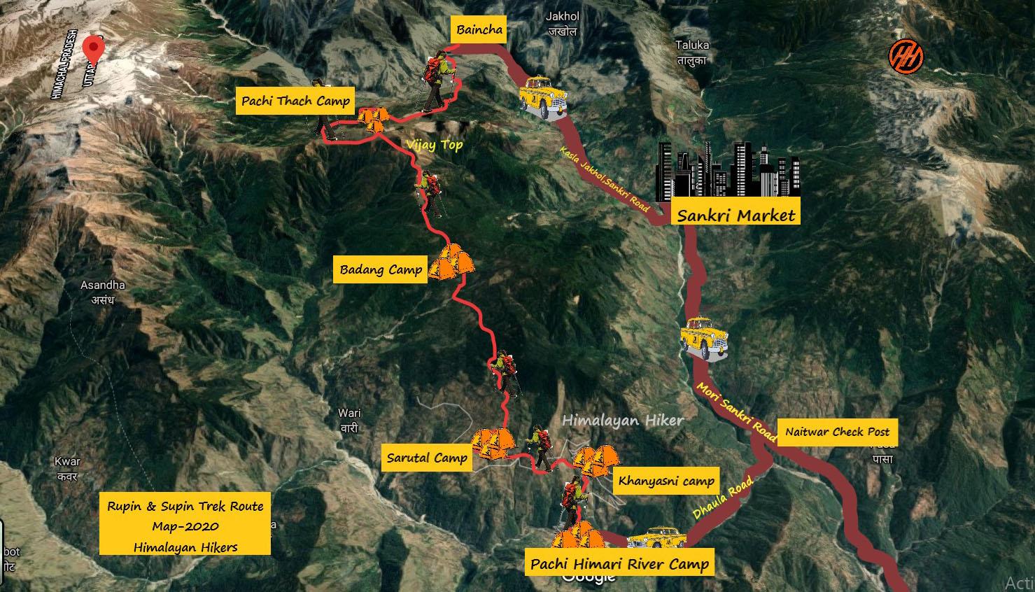 Rupin & Supin Trek Route Map