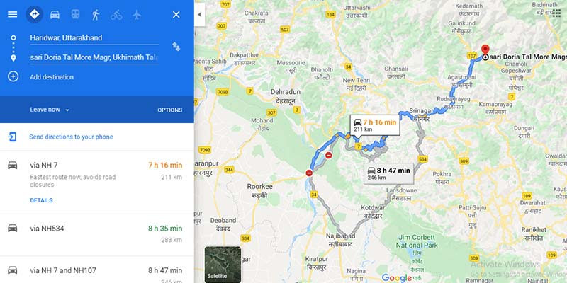 Haridwar to Sari Village Route Map
