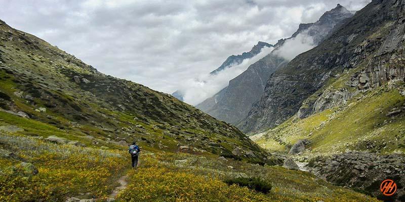 Beautiful Green Mountains View in Parvati Pass Trek