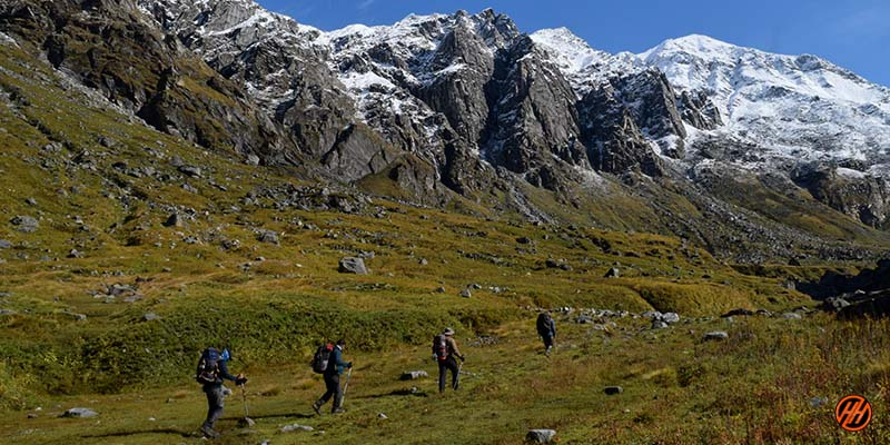 Beautiful Mountains with green meadows in Khimloga Pass Trek