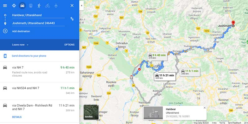 Haridwar to Joshimath Route Map